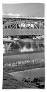 Historic Halls Mill Bridge Reflections Black And White Beach Towel