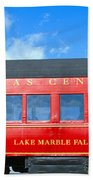 Historic Red Passenger Car, Austin & Beach Towel