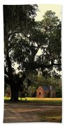 Historic Slave Houses At Boone Hall Plantation In Sc Beach Towel