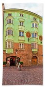 Historic Street Of Innsbruck Panoramic View Beach Towel