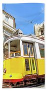 Historic Tram And Lisbon Cathedral Beach Towel