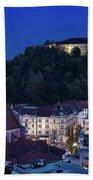 Hlltop Ljubljana Castle Overlooking The Old Town Of Ljubljana Ca Beach Towel