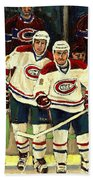 Hockey Art The Habs Fab Four Beach Towel by Carole Spandau