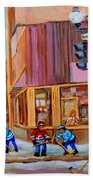 Hockey At Beautys Deli Beach Towel by Carole Spandau