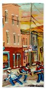 Hockey Game Fairmount And Clark Wilensky's Diner Beach Towel