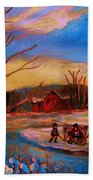 Hockey Game On Frozen Pond Beach Towel