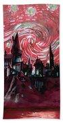 Hogwarts Starry Night In Red Beach Towel