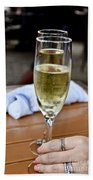 Holding Champagne Glass In Hand Beach Towel