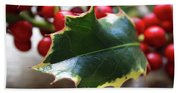 Holly Berries- Photograph By Linda Woods Beach Sheet