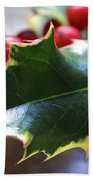 Holly Berries- Photograph By Linda Woods Beach Towel