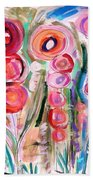Hollyhocks Of The Garden Beach Towel