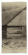 Home In The Woods Sepia Beach Towel