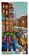 Home Town Painting St Viateur Bagel Street Scene Coca Cola Truck Montreal 375 Carole Spandau Art     Beach Towel