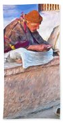 Homeless Man In India Beach Towel