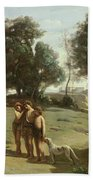 Homer And The Shepherds In A Landscape Beach Towel by Jean Baptiste Camille Corot