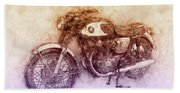 Honda Cb77 - Honda Motorcycles 2 - Motorcycle Poster - Automotive Art Beach Towel