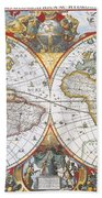 Hondius World Map, 1630 Beach Towel by Photo Researchers