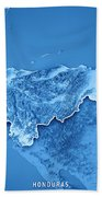 Honduras Country 3d Render Topographic Map Blue Border Beach Towel
