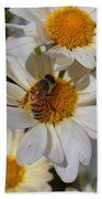 Honeybee And Daisy Mums Beach Towel