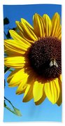 Honeybee On A Sunflower Beach Towel