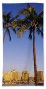 Honolulu And Palms Beach Towel
