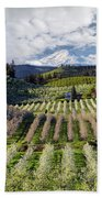 Hood River Pear Orchards On A Cloudy Day Beach Towel