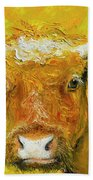 Horned Cow Painting Beach Towel