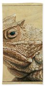 Horned Toad Beach Towel by James W Johnson