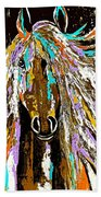 Horse Abstract Brown And Blue Beach Towel