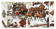 Horse And Carriage In The Snow Beach Towel