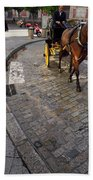 Horse And Carriage On Cobblestoned Alvarez Quintero Street In Th Beach Towel