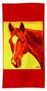 Horse Art Horse Portrait Maduro Deep Yellow And Orange Beach Towel