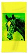Horse Art Horse Portrait Maduro Green Black And Yellow Beach Towel