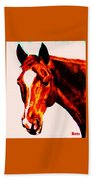 Horse Art Horse Portrait Maduro Red With Yellow Highlights Beach Towel