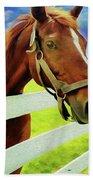Horse By Nicholas Nixo Efthimiou Beach Towel