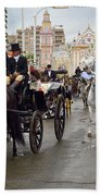 Horse Drawn Carriages And Women On Horseback Riding Sidesaddle O Beach Towel