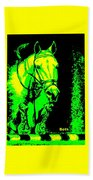 Horse Painting Jumper No Faults Green And Yellow Beach Towel