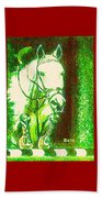 Horse Painting Jumper No Faults Green With Reds Beach Towel