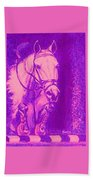 Horse Painting Jumper No Faults Hot Pink Beach Towel