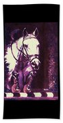 Horse Painting Jumper No Faults Purple Beach Towel