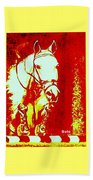 Horse Painting Jumper No Faults Red And White Beach Towel