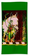 Horse Painting Jumper No Faults Reds Greens Beach Towel