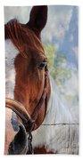 Horse Portrait Closeup Beach Towel