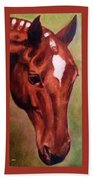 Horse Portrait Horse Head Red Close Up Beach Towel