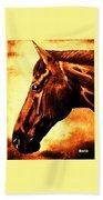 horse portrait PRINCETON brown tones Beach Towel