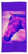 horse portrait PRINCETON pink Beach Towel