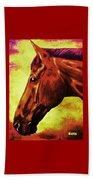 horse portrait PRINCETON purple brown yellow Beach Towel
