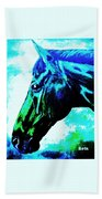 horse portrait PRINCETON really blue Beach Towel