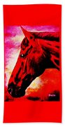 horse portrait PRINCETON red hot Beach Towel