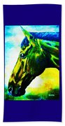 horse portrait PRINCETON vibrant yellow and blue Beach Towel
